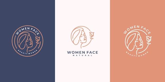 Belleza salón femenino logo icono arte lineal