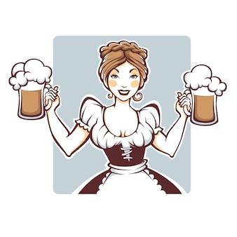 Belleza y sexy chica alemana sosteniendo un retrato, logotipo o emblema de cerveza de barril para su menú oktoberfest