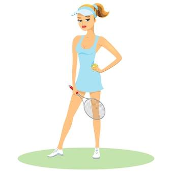 Belleza en uniforme de tenis con un pico con el pelo recogido en una cola de caballo posando sosteniendo una raqueta