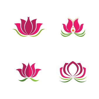 Belleza vector icono de plantilla de logotipo de diseño de flores de loto