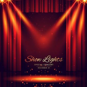 Bello escenario de teatro con focos de luces