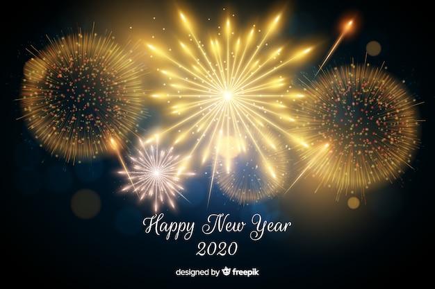 Bellos fuegos artificiales de año nuevo 2020