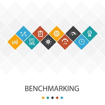 Benchmarking concepto de infografías de plantilla de interfaz de usuario de moda. rendimiento, proceso, gestión, iconos indicadores