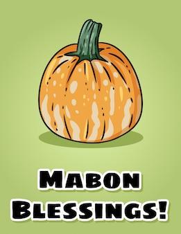 Las bendiciones de mabon caen la postal pagana de la calabaza del día de fiesta