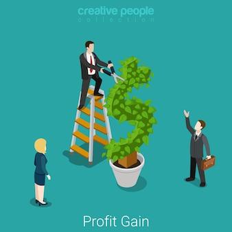 Beneficio ganancia inversión exitosa cosecha concepto financiero negocio plano isométrico hombre de negocios cortando hojas en árbol de planta dólar.