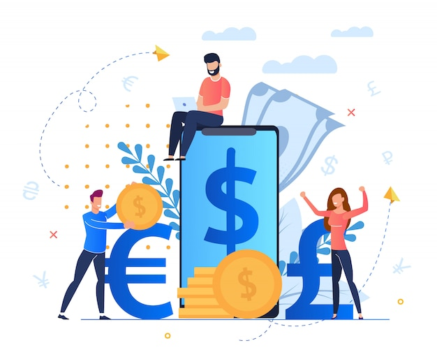 Beneficio de los servicios de cambio de moneda de dibujos animados. el hombre se sienta en la pantalla del teléfono inteligente grande.