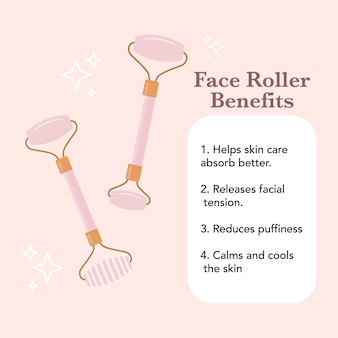 Beneficios de la cara del rodillo lista de beneficios del rodillo masaje facial gráficos vectoriales