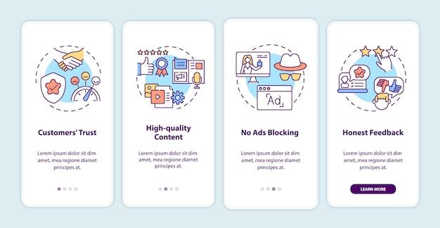 Beneficios del marketing de influencers al incorporar la pantalla de la página de la aplicación móvil con conceptos