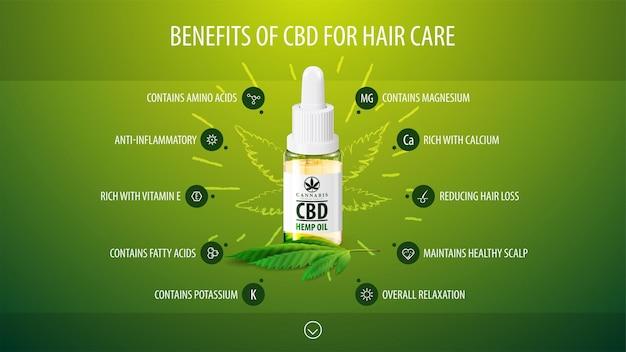 Beneficios médicos de cbd para el cuidado del cabello, cartel infográfico verde con iconos de beneficios médicos y botella transparente de vidrio de aceite de cbd médico