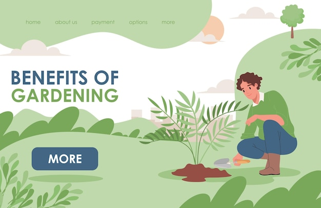 Beneficios de la plantilla de página de destino de jardinería