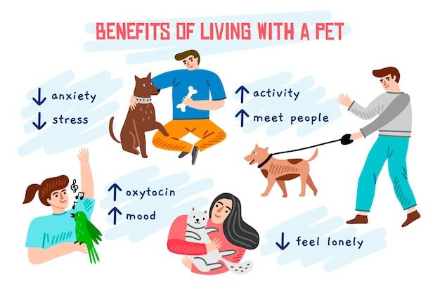 Beneficios de vivir con una mascota infografía