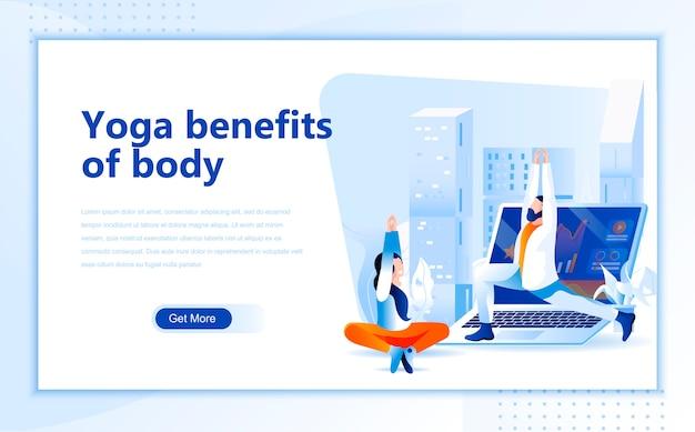 Beneficios del yoga de la plantilla de página de inicio plana del cuerpo de la página de inicio