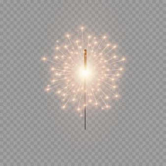 Bengala de navidad. hermoso efecto de luz con estrellas y chispas. festivos brillantes fuegos artificiales. luces realistas aisladas sobre fondo transparente. elemento de decoración para celebraciones y fiestas.