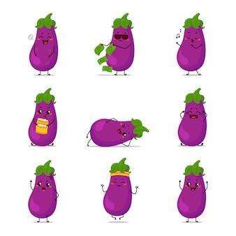 Berenjena icono animación dibujos animados personaje mascota pegatina expresión triste feliz llorar enamorado idea saltar consiguió dinero