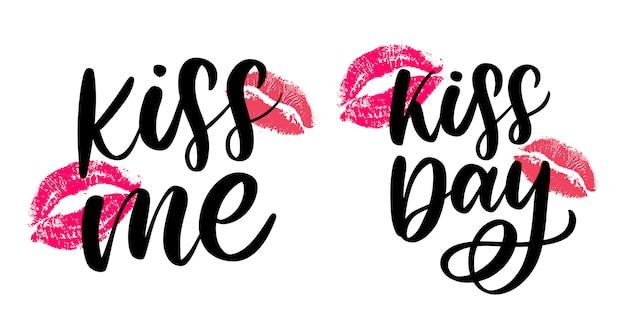 Bésame y besa el conjunto de letras de la mano del día