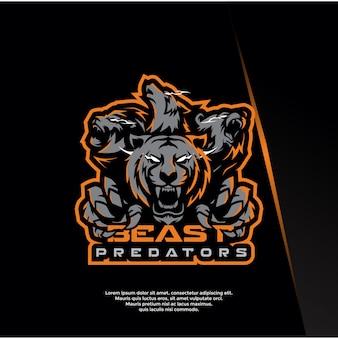 Bestia, animal, predator, deporte, plantilla de logotipo