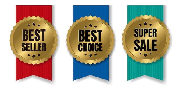Bestseller de oro y insignia de venta con cinta