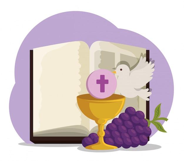 Biblia con cáliz y uvas para primera comunión