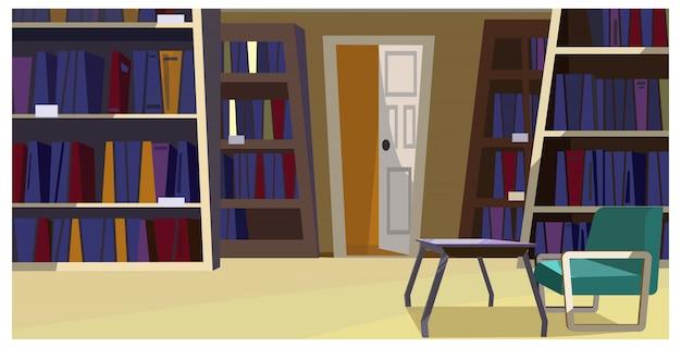 Biblioteca casera con estanterías ilustradas.