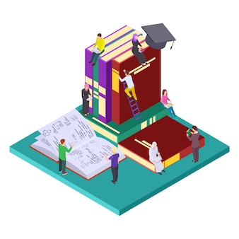 Biblioteca, concepto isométrico de educación. ilustración de estudiantes y libros, autoeducación
