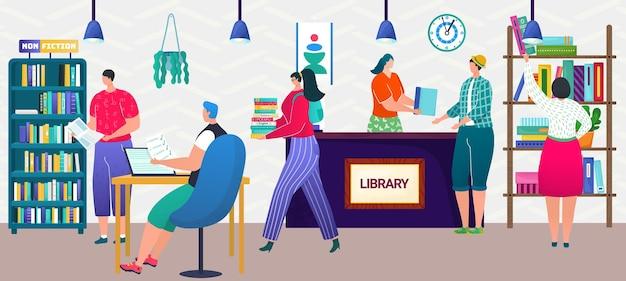 Biblioteca concepto vector ilustración estudiar conocimiento con libros hombre mujer estudiante carácter obtener educa ...