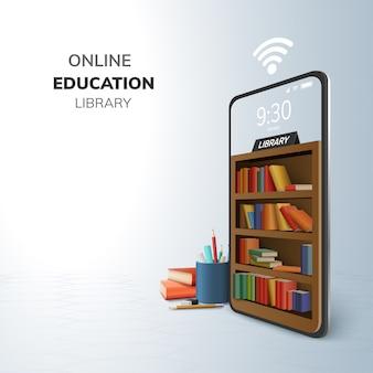 Biblioteca digital en línea educación internet y espacio en blanco en el teléfono.