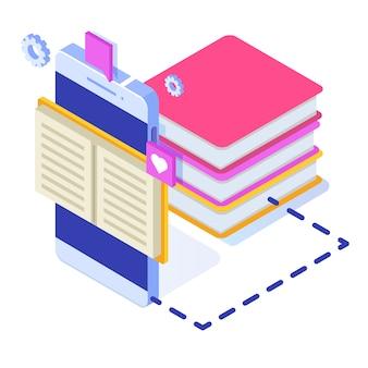 Biblioteca digital en línea isométrica, librería en línea, e-learning, ebook. ilustración.