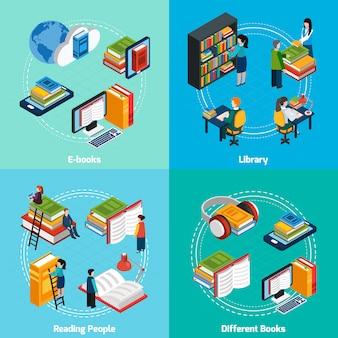 Biblioteca elementos isométricos y caracteres. composiciones.