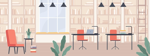 Biblioteca. interior de la biblioteca pública moderna con estanterías, sillas, escritorios y computadoras, sala de lectura o ilustración de vector de pasillo de librería. libro sala pública, conocimiento educación interior.