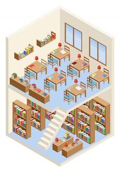 Biblioteca isométrica y sala de lectura.