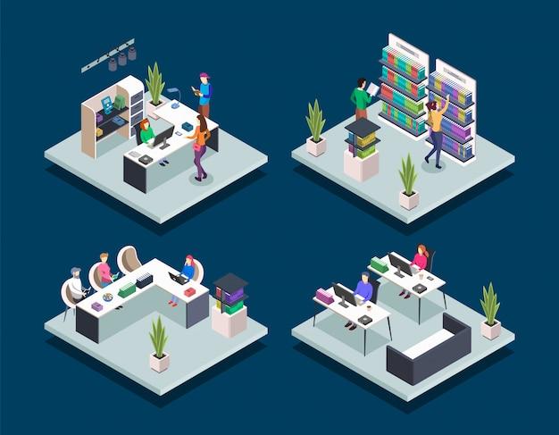 Biblioteca de libros modernos isométrica color vector ilustraciones conjunto. la gente en la librería. estudiante en la clase de informática de la universidad. los alumnos de la escuela de lectura. concepto 3d de biblioteca pública aislado