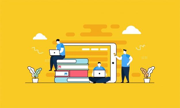 Biblioteca en línea en estilo plano