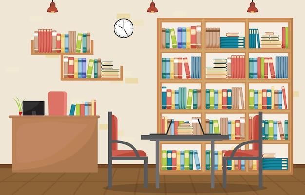 Biblioteca pública interior pila de libro en estantería plana