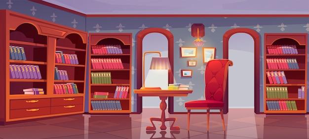 Biblioteca vip, interior de lujo, sala de lectura vacía.