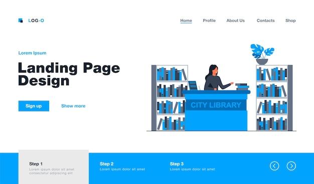 Bibliotecaria sonriente mujer de pie en la página de inicio del mostrador en estilo plano