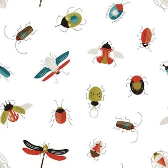 Bichos y escarabajos de patrones sin fisuras.