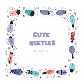 Bichos o escarabajos de dibujos animados vector, marco cuadrado