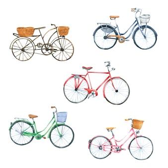 Bicicleta acuarela dibujada a mano pintada