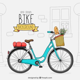 Bicicleta adorable con estilo de dibujo a mano