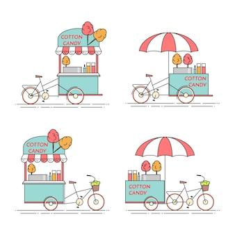 Bicicleta de algodón de azúcar. carro sobre ruedas. quiosco de comida y bebida. ilustracion vectorial línea plana de arte. elementos para construcción, vivienda, mercado inmobiliario, diseño de arquitectura, banner de inversión inmobiliaria