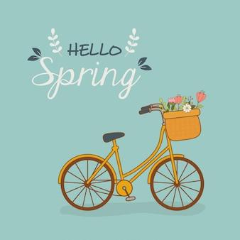 Bicicleta con canasta y flores en el paisaje.