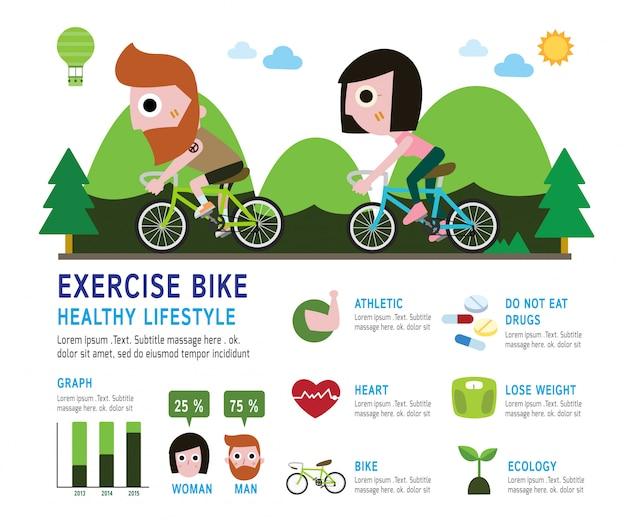 Bicicleta ciclista ciclista con barba infografía concepto.