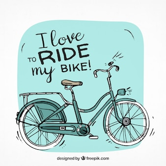 Bicicleta clásica con estilo de dibujo a mano