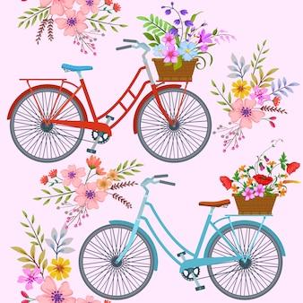 Bicicleta con patrón de flores.