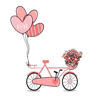 Bicicleta de dama rosa con canasta de flores y globos de corazón