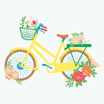Bicicleta de flores vector