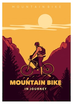 Bicicleta de montaña en viaje, estilo vintage póster