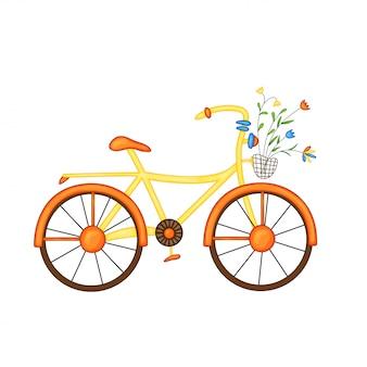 Bicicleta naranja-amarilla con flores en canasta en estilo de dibujos animados lindo