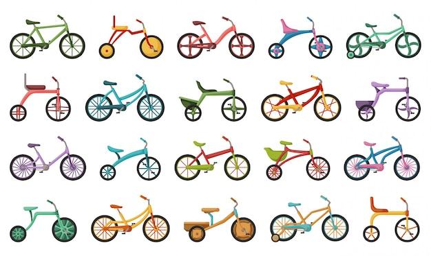 Bicicleta niño aislado de dibujos animados conjunto de iconos. ilustración niños en bicicleta sobre fondo blanco. conjunto de dibujos animados icono bicicleta infantil.
