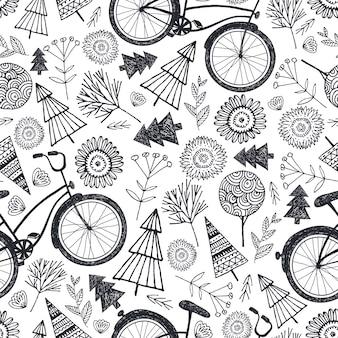 Bicicleta de patrones sin fisuras con árboles, florales, flores. blanco y negro, fondo de doodle dibujado a mano